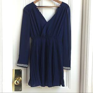 Dygarni Navy Cuff Embellished Pleated Dress